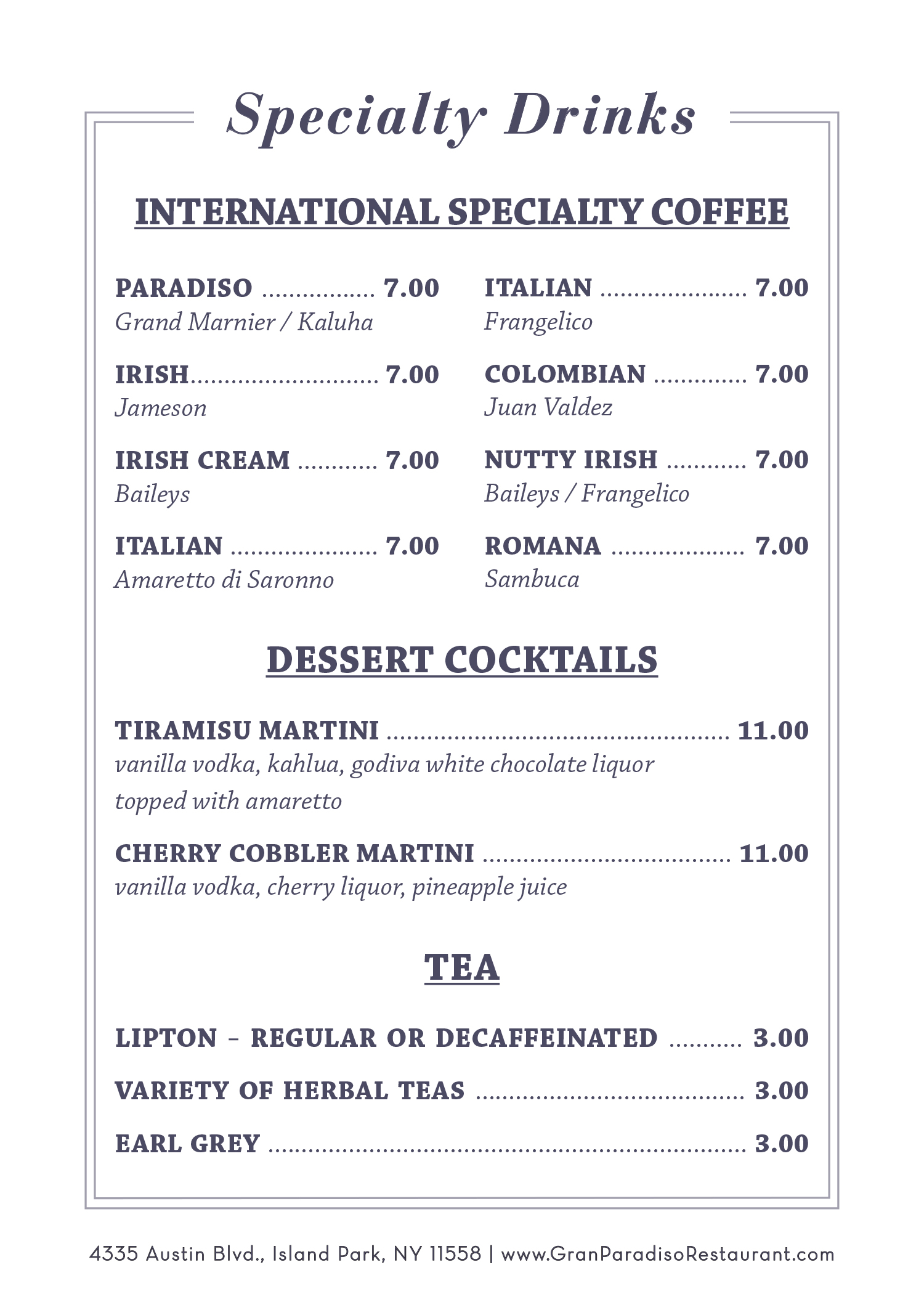 Gran Paradiso Specialty Coffee And Dessert Cocktails