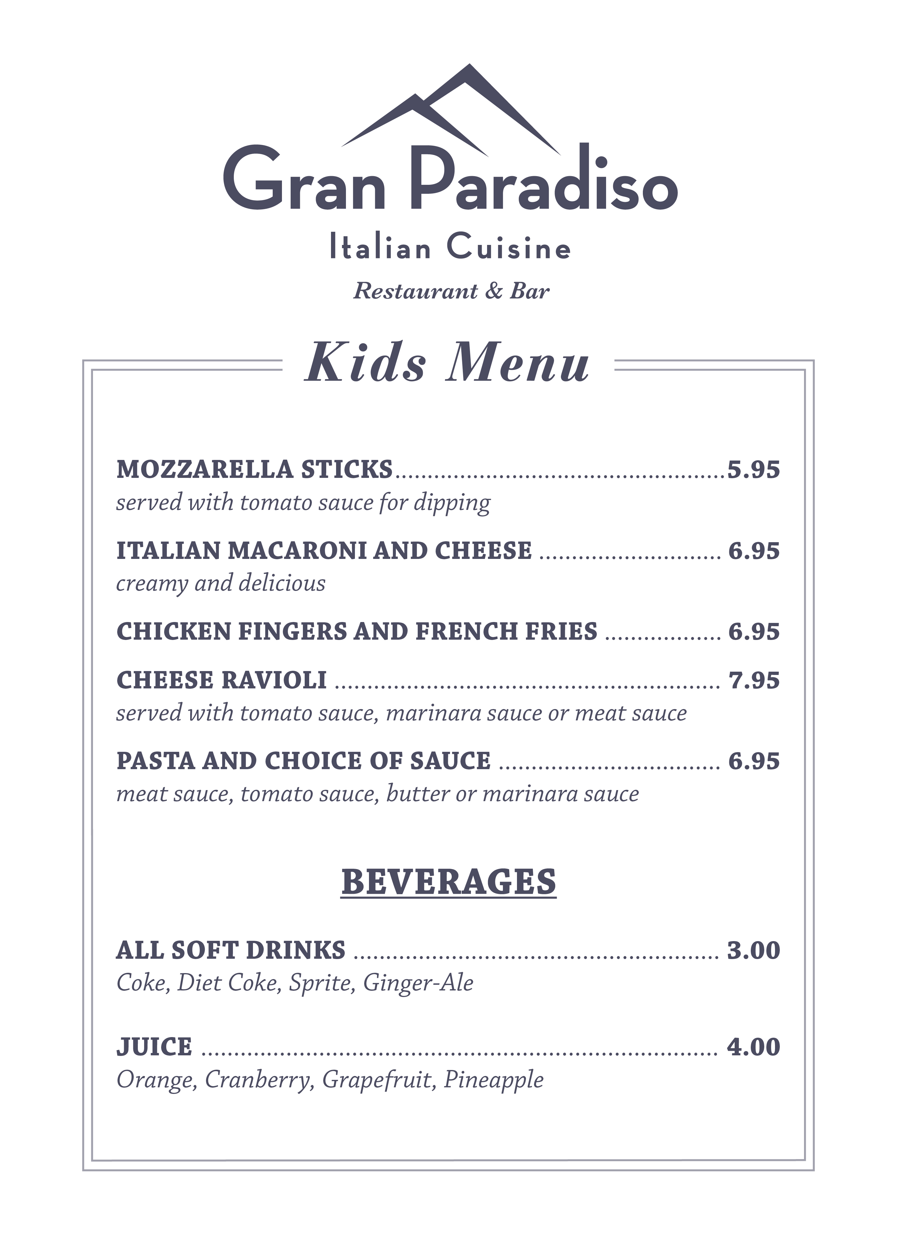 Gran Paradiso-Kids Menu-5x7