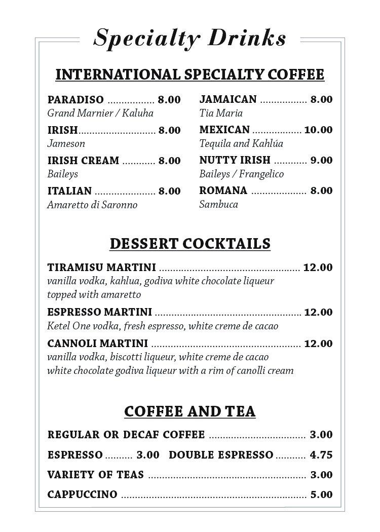 Specialty Drinks Website 2018